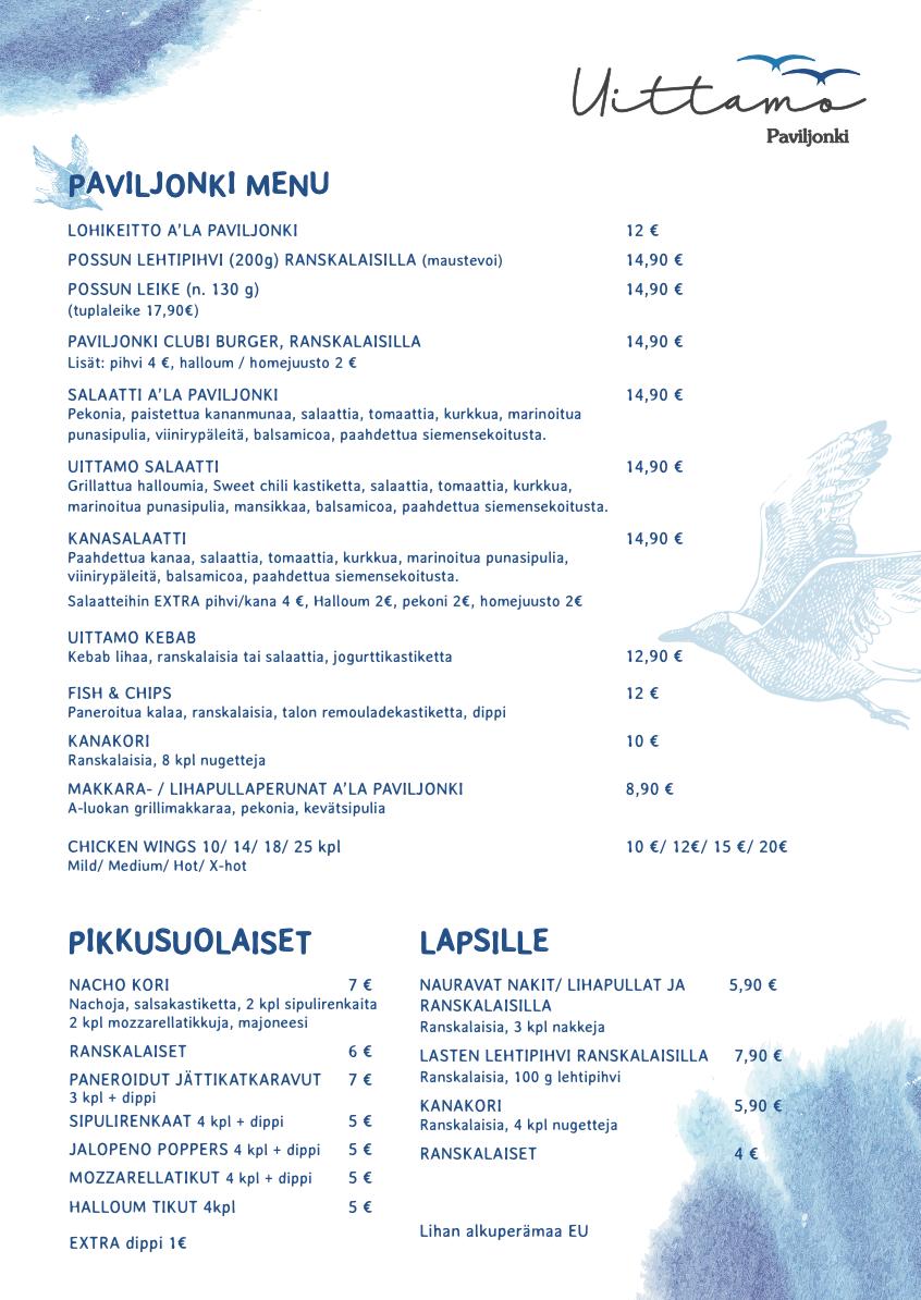 UIttamo Paviljonki ruokalista ja menu